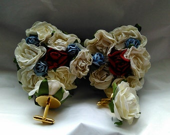 Easter Fathers Day, Kentucky Derby, Holiday, Bridal Wedding ,Prom White and multicolored Rosette embellished cuff link and bow tie set