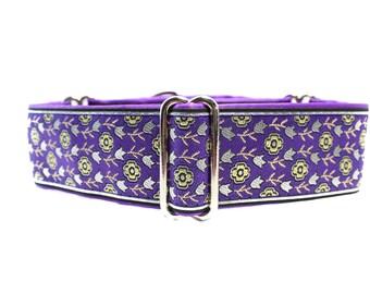 1.5 Inch Martingale Collar, Purple Martingale Dog Collar, Purple Dog Collar, Jacquard Dog Collar, Greyhound Collar, Wide Dog Collar