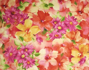 Bright Yellows and Pinks Sophia Floral Print Pure Cotton Fabric--By the Yard