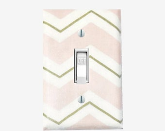 Pink and gold chevron light switch cover Girls bedroom Baby nursery decor