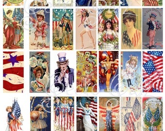 Red White & Blue Domino Image Collage Sheet