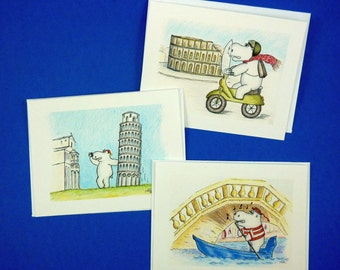 Happy Travels--Three Greeting Cards: Italy