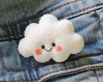 Kawaii Felt Cloud Brooch made to order