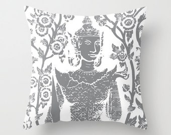 Buddha pillow with insert  - Namaste Throw pillow with insert - Slate Grey and White - By Aldari Home