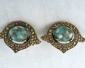 Blue Rhombus Stone Earrings - Vintage Sarah Coventry Signed - Gold Tone - Clip on
