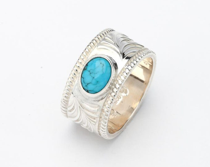 Engraved Silver Band | Turquoise Silver Ring | Oxidized Silver Band | Floral Pattern Ring | Arabesque Ring | Personalized Ring |Gift for Him
