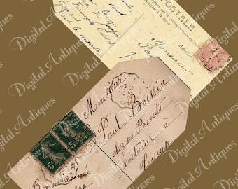 Vintage carte postale imprimable Tags téléchargement instantané