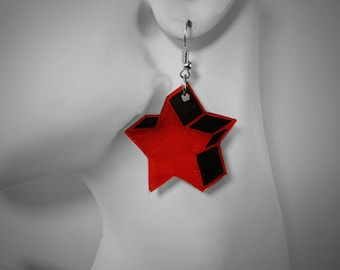 3D RED STAR - handmade dangle earring