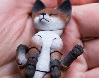 Pre-order. Fox cub 3D printed BJD doll 4,5 cm; 5.5 cm; 6.5 cm; 7.5 cm with one or 2 heads. Ball jointed dolls are for the pre-order.