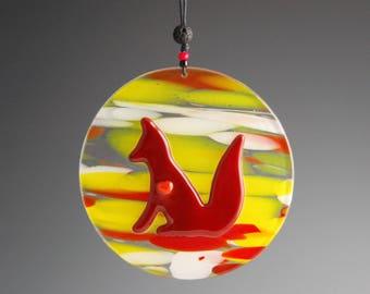 Red Fox Glass Sun catcher-Orange Heart-Round-Original Art-Inner Peace Totem-Colorful Suncatcher-Yellow-White-Clear