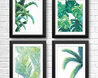 4 Tropical Leaf Prints, Tree Wall Art, Tropical Home Decor, Bathroom  Pictures,