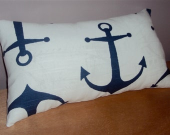 Navy Blue and White Nautical Anchor Decorative Lumbar Pillow Cover - Available In 3 Sizes