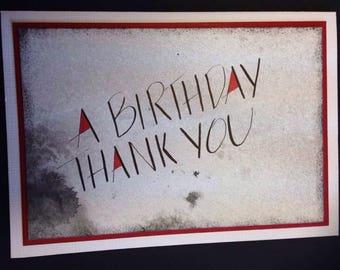 Greeting Card - Handmade in Australia Blank - Calligraphy - Birthday Thank You