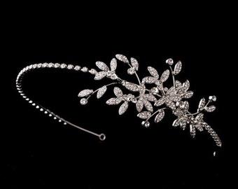 Rhinestone leaf headband, Silver leaf headband, Bridal Headpiece, Bridal Headband, Wedding Headpiece, Wedding Headband, Hair Accessories