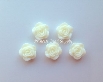 Ivory Resin Rose Flower Beads, NEW Style! 20mm Rose Beads, 20mm Flower Beads, Mini Flower Beads, Chunky Beads, Acrylic Beads