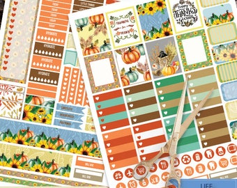 Fall Printable Planner Stickers, Thanksgiving day Weekly Kit for use with Erin Condren LifePlanner, Filofax, Plum Paper, Scrapbooking