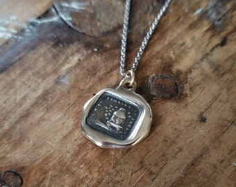 Bronze Secret - Bees and Beehive Wax Seal Necklace from Antique French Seal - No one penetrates my Secrets - 118