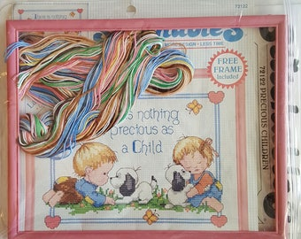 Crossstitch Kit Children Puppy Picture and Frame Morehead Vintage Dimensions
