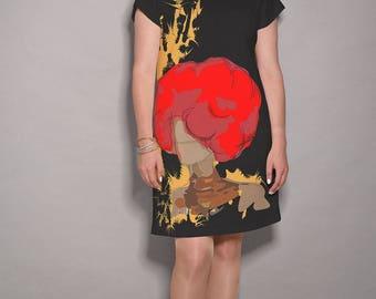 Black dress, Red dress, artist dress, party dress, women dresses, elegant dress, midi dress, colorful dress, holiday dress, summer dresses