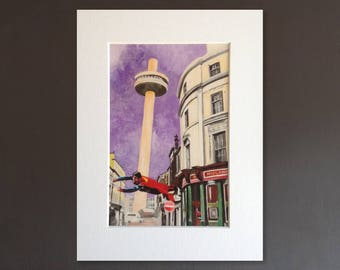 SUPERMAN wall art - giclee print of 'Leaning Tower Of Liverpool' painting by Stephen Mahoney - Liverpool-theme artwork featuring Superman