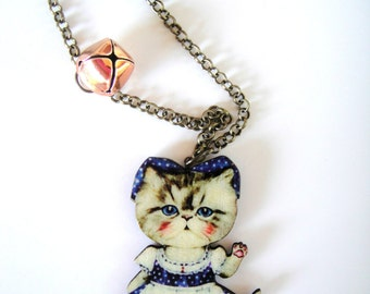 My cat loves purple , Cat necklace, cat pendant, kitty necklace,kitty pendant, cat jewellery, kawaii cat , cat accessories, cat lady, purple
