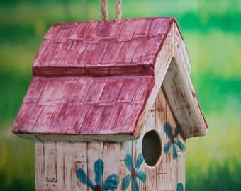 Flowered Barn Birdhouse