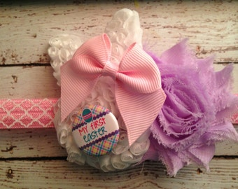 Easter Bunny with  Shabby Flower Headband My First Easter Button.... Newborn, Baby, Girls Photo Prop.. Bow