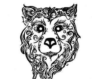 Downloadable Tribal Grizzly Bear Print