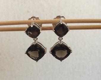 Smoky quartz, natural stones, dangle and drop earrings