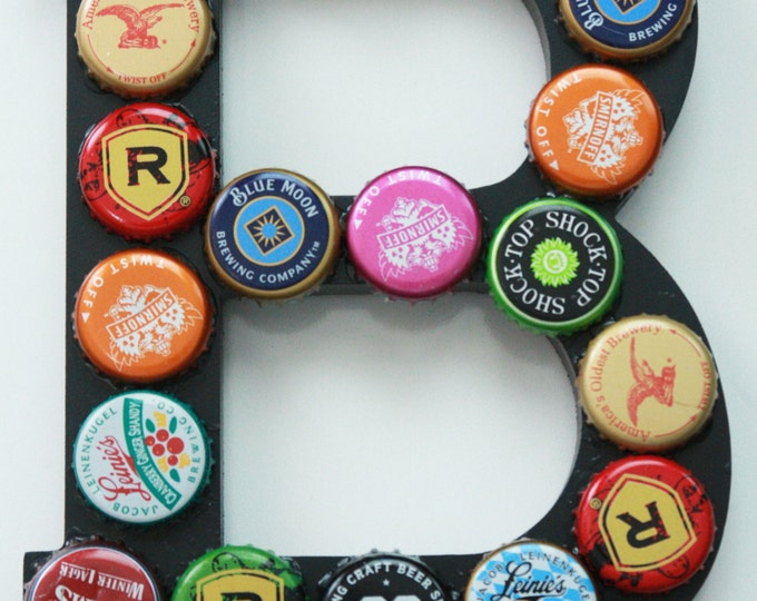 B is for Beer, Upcycled Beer Bottle Cap and Wood Letter Mixed Media 3D Wall Decor, Monogram Art, Letter B Art, Letter Decor, Monogram Decor