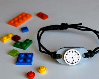 Play Day Lego Bracelet in Gray - Build Your Own LEGO Jewelry - Creative - Watch - Pretend Play - Upcycled - Kid Jewelry - Tweens - Boys Gift
