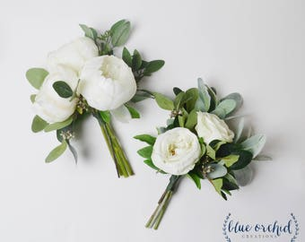 Bridesmaid Bouquet, Wedding Flowers, Wedding Bouquet, White and Green Bouquet, Greenery Bouquet, Bridesmaid Flowers, Wedding Flower Set