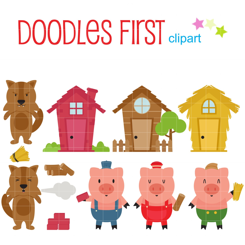 three little pigs clip art for scrapbooking card making rh etsy com the three little pigs clipart the three little pigs clipart