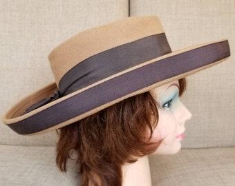 Vintage Women's Tan Wool Felt Broad Brimmed Hat