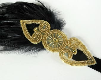 Christmas 1920s Headpiece for 20s Flapper Dress, Roaring 20s Party Headband, Great Gatsby Headpiece, Black feather Headband, Gold Headband