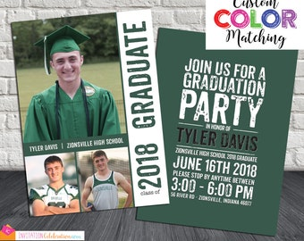 Twins graduation announcement open house party invitations boy graduation party invitation custom color matching graduation announcement for boy open house filmwisefo Choice Image