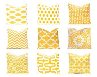 Decorative Pillow Cover - Yellow Pillow Covers - One Throw Pillow Cover - Yellow and White - Yellow Decor - Yellow Bedding - Sofa Pillows