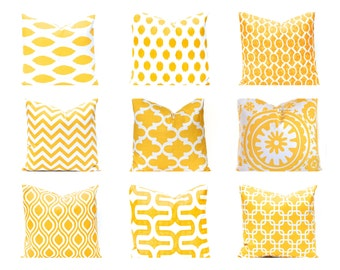 Decorative Pillow Cover   Yellow Pillow Covers   One Throw Pillow Cover    Yellow And White