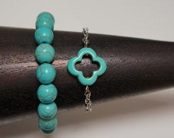 Blue Turquiose Howlite Clover Chain Bracelet