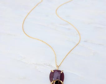 Garnet Necklace | Gold Necklace Gift | Gemstone Necklace | Prongs | Jewelry Gift | Dainty Necklace | January Birthstone | Rose Cut Necklace