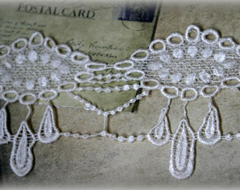 """Tresors   Ivory Venice Bridal Embroidered Guipure Crafting Wide Fabric Lace Trim With Tear Drop Edging LA-085 10% off """"SUMMER10"""" at checkout"""