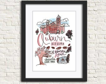 Auburn, Alabama art wall art gift handlettered watercolor sign print (8x10 or 11x14)