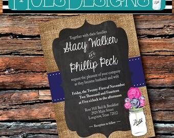 Any Color WEDDING Invitation MASON Jar Vintage Country BURLAP Chalkboard Blue Hot Pink Navy Summer Floral Wedding Brunch Tea Baby Shower