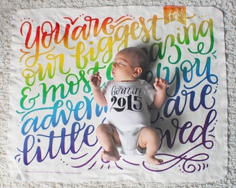 Swaddle - Rainbow - You are our greatest adventure - Organic cotton & fleece baby swaddle