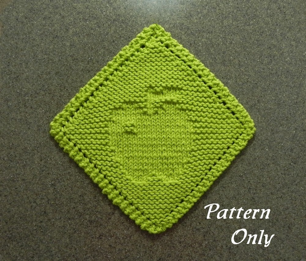 Diagonal APPLE Knitting Pattern, Dishrag Pattern, Knit Wash Cloth ...