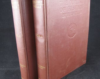 The Outline of History // H. G. Wells // 2 Hardbacks 1923 // Volumes 1 and 2 of a 4 Volume Set