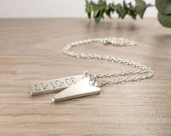 Vertical Bar Necklace - Personalised Bar Necklace - Hand Stamped Necklace - Birth Date Necklace - Silver Bar Pendant - New Baby Necklace