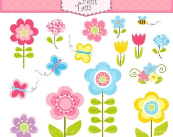 ON SALE Flowers clip art - Butterfly clip art, instant download, summer garden, Stitched flowers clip art, Butterfly flowers pink, blue,yell