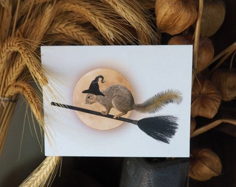 Witch Squirrel Moon Printable Halloween Card