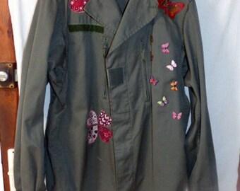 genuine military jacket khaki customized, clovers, hearts, butterflies